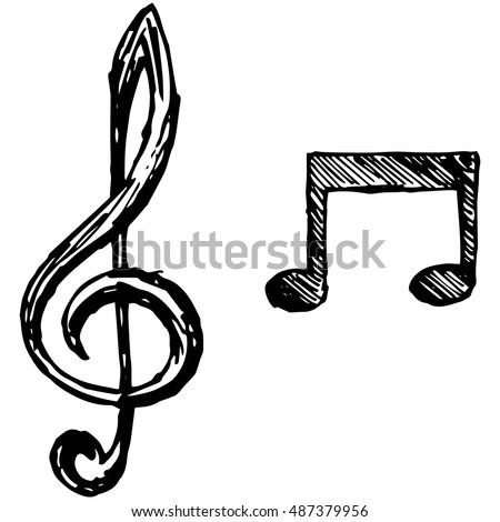 Musical notes. Vector illustration, doodle style