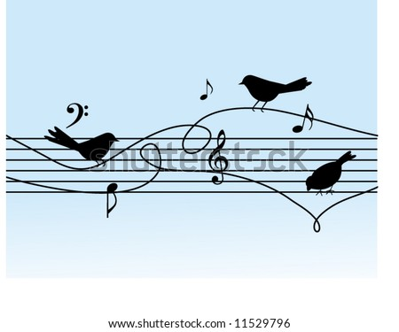 musical notes with birds on a wire - stock vector