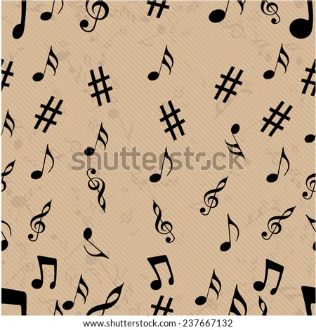 Musical notes with seamless pattern. - stock vector