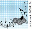 musical notes with speakers - stock
