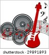 musical notes with speakers and guitar - stock