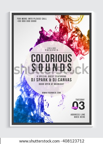 Musical Party Template, Dance Party Flyear, Night Party Banner or Club Invitation with colorful abstract design. - stock vector