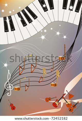 Musical pattern with piano keyboard and notes made of different musical instruments. - stock vector