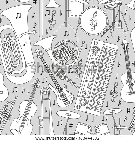 Musical seamless pattern made of different musical instruments, treble clef and notes. Black and white colors. Set of line icons in music theme. Good for coloring books. Vector illustration. - stock vector