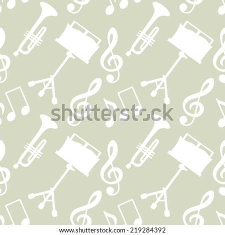 Musical seamless pattern with music notes, treble clef, trumpet, music stand. Endless print silhouette texture. Fabric design. Retro. Vintage style - stock vector