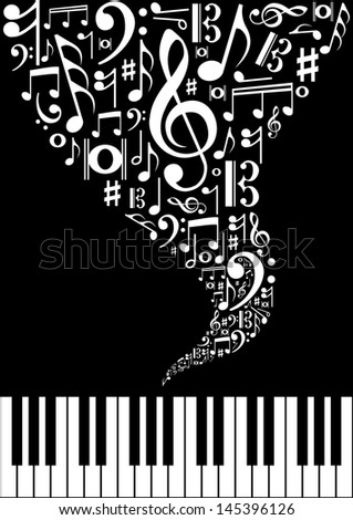 Musical splash concept background with note and instrument silhouettes. Vector illustration layered for easy manipulation and custom coloring. - stock vector