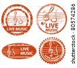 musical stamp set - stock vector