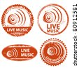 musical stamp set live music - stock vector
