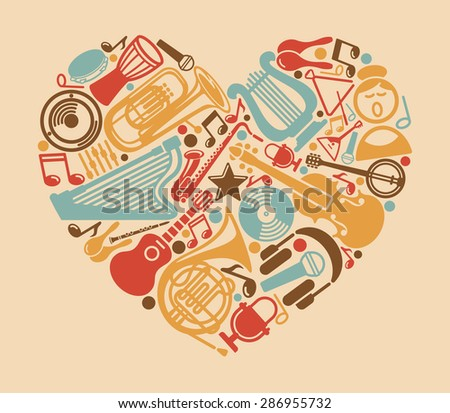 Musical symbols in the form of heart - stock vector