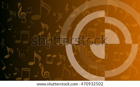 musical symbols, music notes, treble clef, a orange and white background vector