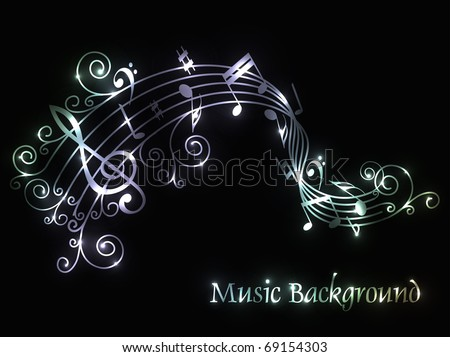 Musical Theme Background With Music Tunes Editable Illustration