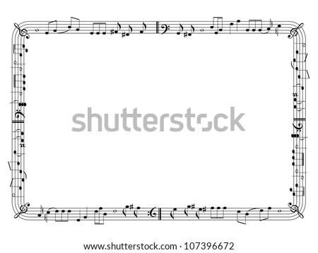 Musical theme frame - stock vector