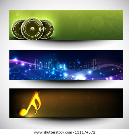 Musical website headers or banners. EPS 10. - stock vector