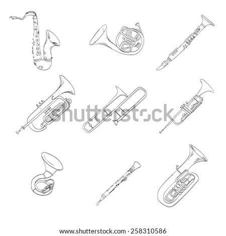 musical wind instruments flute pipes vector