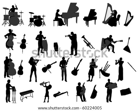 musician and musical instrument - stock vector