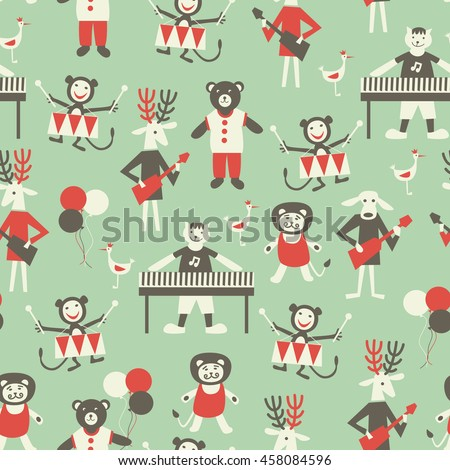 Musician animals. Seamless pattern with cartoon animals playing on musical instruments.