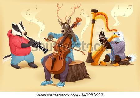 Musician cartoon animals. Vector illustration. - stock vector