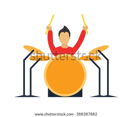 Musician drummer flat illustration. Musician cartoon drummer characters with drumm isolated on white background. Musician drummer people icons. Musician people rock drummer cartoon style. - stock vector