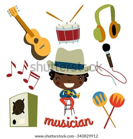 musician kid set. cute profession character. - stock vector
