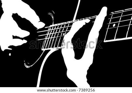 Musician playing guitar - stock vector
