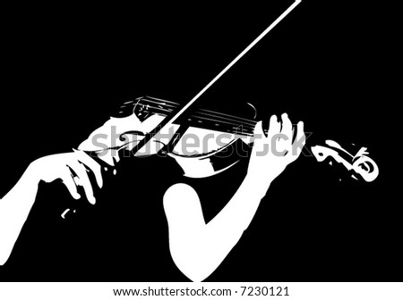 musician playing violin - stock vector