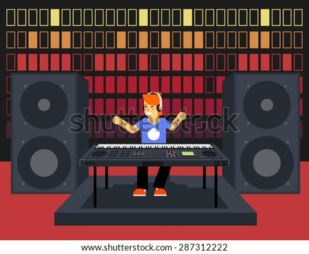 Musician Synthesizer Modern Music Player Concept Character Icon Flat Design Stylish Sound Waves Pulse Audio Equalizer Background Template Vector Illustration - stock vector