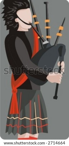 Musician vector illustration series. Scottish bagpiper. Check my portfolio for much more of this series as well as thousands of similar and other great vector items. - stock vector