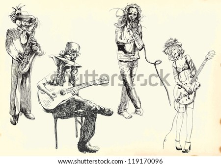 Musicians collection. Description: Editable in five layers. Colored vintage paper (background) in the bottom layer. Four black outlines group (musicians). - stock vector