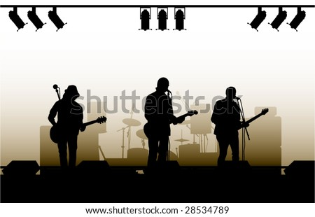 musicians on a scene and play guitars - stock vector