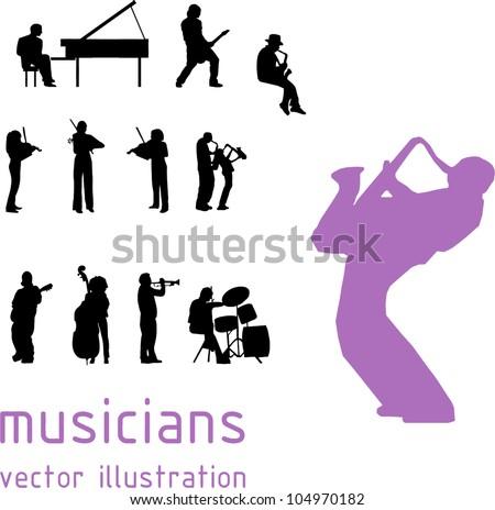 musicians silhouette over white background. Vector illustration - stock vector