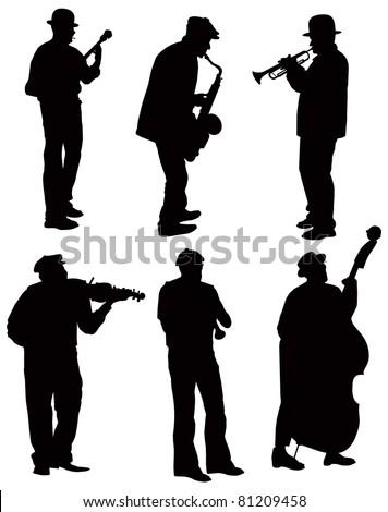 Musicians silhouettes. Vector - stock vector