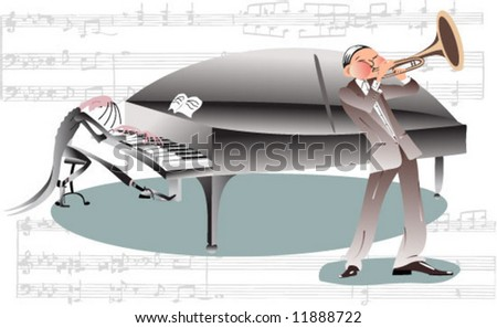 Musicians: trumpeter and pianist - stock vector