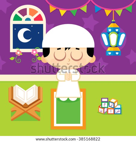 Muslim boy praying , Decorating his room with Ramadan lantern , beside him Quran and Arabic alphabet blocks includes the letters of the word ( Ramadan ) - stock vector