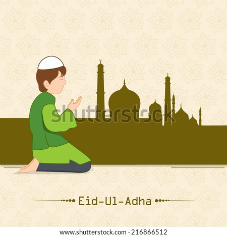 Muslim boy praying (Namaz, Islamic Prayer) in front of mosque on beige background for Eid-Ul-Adha festival celebrations.  - stock vector