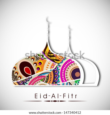 Muslim community festival Eid Al Fitr (Eid Muabrak) concept with floral decorated mosque design on abstract grey background.  - stock vector
