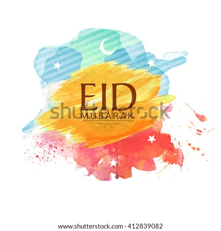 Muslim Community Festival, Eid Mubarak celebration with crescent Moon and Stars on colourful paint stroke background. - stock vector