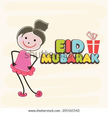 Muslim community festival Eid Mubarak celebrations background with cute little girl and colorful text on beige background.