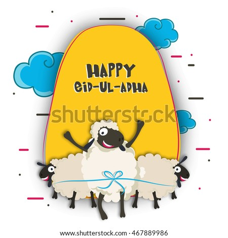 Muslim Community, Festival of Sacrifice, Eid-Al-Adha Celebration with creative paper cutout of Sheeps on cloudy background. Vector greeting card design.