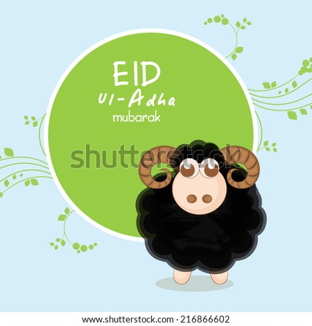 Muslim community festival of sacrifice Eid-Ul-Adha greeting card design with sheep on blue and green background. - stock vector
