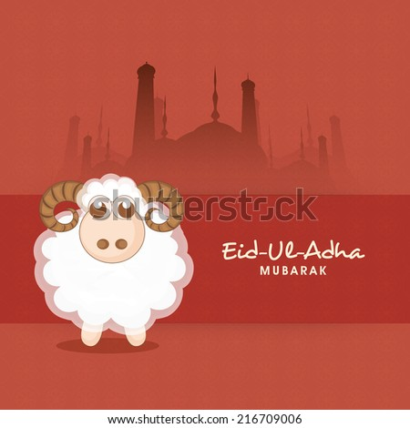 Muslim community festival of sacrifice Eid-Ul-Adha greeting card with sheep on mosque silhouette background.  - stock vector