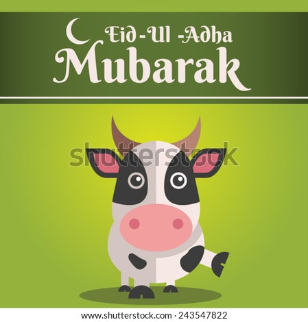 Muslim community kurban bayram - festival of sacrifice Eid Ul Adha greeting card or background with cow on abstract vintage background. - stock vector