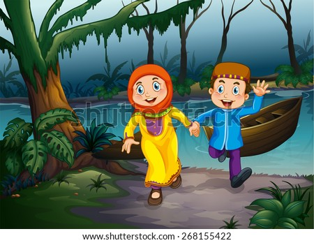 Muslim couple holding hands in the forest - stock vector