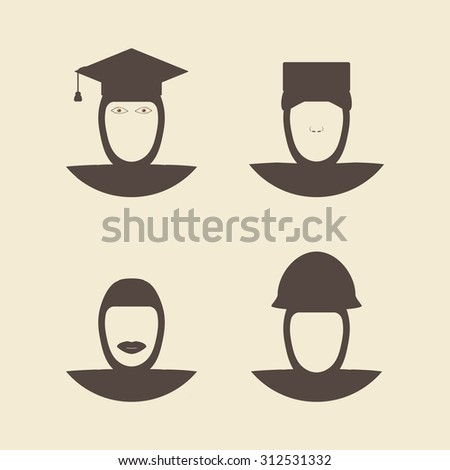 Muslim female wearing hijab avatar faces. Engineer and soldier. Nurse and graduate student. Flat style  design template monochrome vector illustration. - stock vector