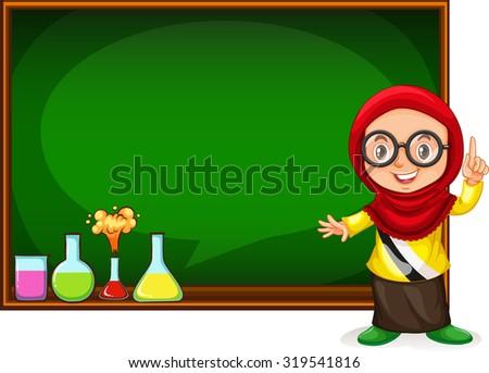 Muslim girl presenting with blackboard illustration - stock vector