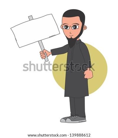muslim guy blank board black suit - stock vector