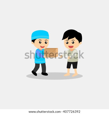 muslim kid giving donation to the ppor. muslim kid cartoon. muslim kid character. muslim kid icon vector illustration design template - stock vector