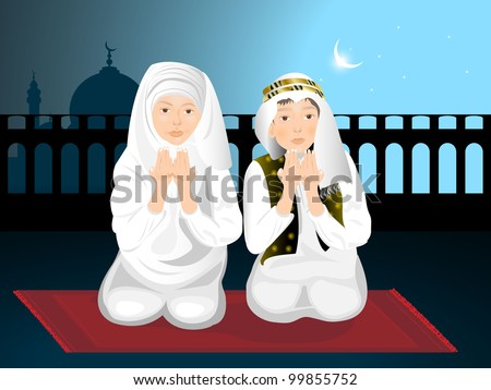 Muslim kids ( girl and boy ) reading namaj ( Islamic prayer ) and mosque on night background. EPS 10. vector illustration. - stock vector