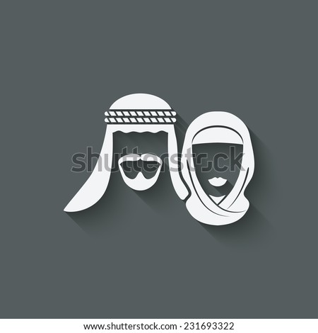 Muslim man and woman old background - vector illustration. eps 10 - stock vector