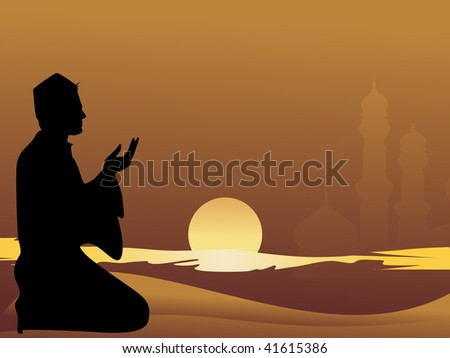 muslim man praying with sunset background - stock vector