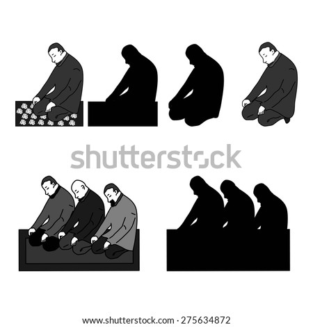 Muslim mans fasting Ramadan and praying isolated on white background. - stock vector